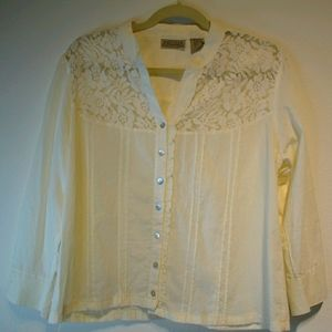 Art and Soul cotton button down top lace ruffle